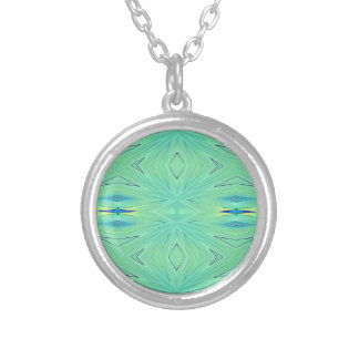 Pretty  Mint Green Aqua Pastel Spring Silver Plated Necklace