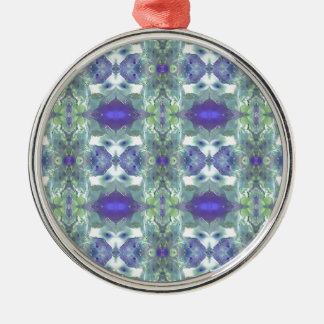 Pretty Mint Green Lavender Pastel Pattern Metal Ornament