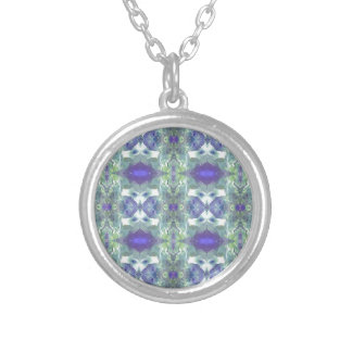 Pretty Mint Green Lavender Pastel Pattern Silver Plated Necklace