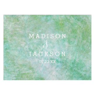 Pretty Mint Green Watercolor Wedding Monogram Tablecloth