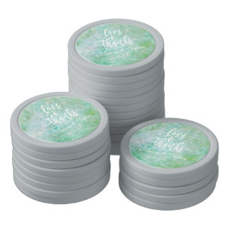 Pretty Mint Green Watercolor Wedding Thank You Poker Chips