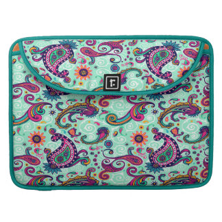 Pretty Mint Pink Paisley Bohemian Pattern Sleeves For MacBooks