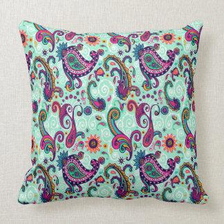 Pretty Mint Pink Paisley Bohemian Pattern Throw Pillow