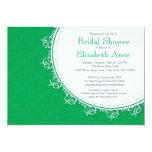 Pretty Modern Emerald Green Damask Bridal Shower 13 Cm X 18 Cm Invitation Card