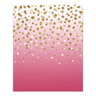 Pretty modern girly faux gold glitter confetti 11.5 cm x 14 cm flyer