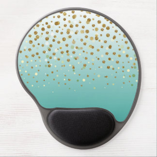 Pretty modern girly faux gold glitter confetti gel mouse pad