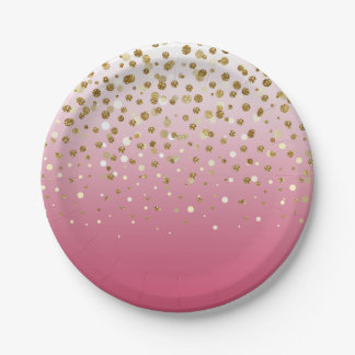 Pretty modern girly faux gold glitter confetti paper plate