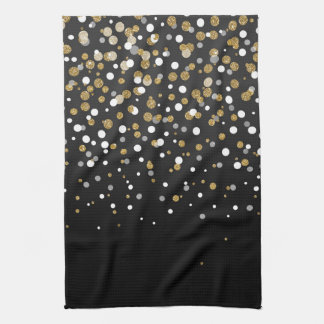Pretty modern girly faux gold glitter confetti tea towel