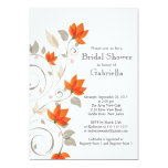 Pretty Modern Orange Floral Vine Bridal Shower Personalized Announcements