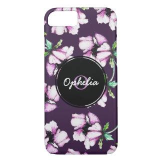 Pretty Modern Purple Watercolor & Ink Flowers iPhone 8/7 Case