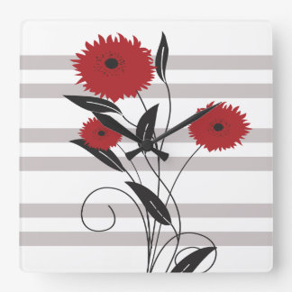 Pretty Modern Red Black and Gray Floral Wallclock