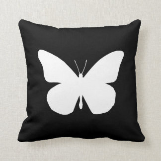 Pretty Monarch Butterfly Cutout on Black Throw Pillow
