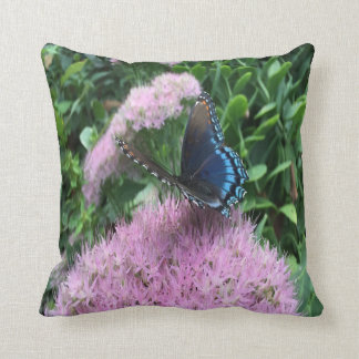 Pretty Monarch Butterfly On Pink Flowers Cushion