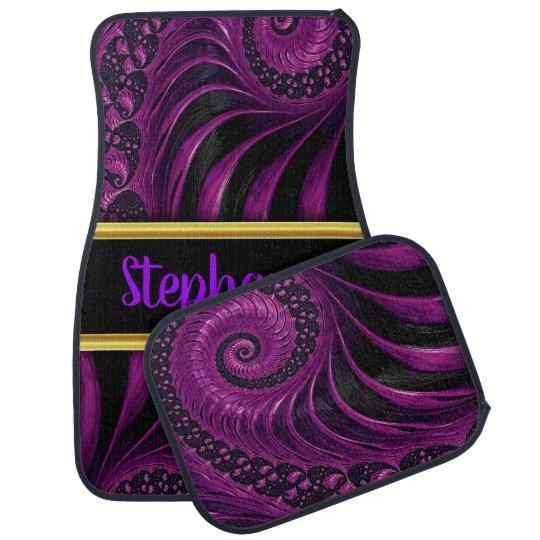 Pretty monogram abstract purple and black swirls car mat
