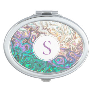 Pretty Monogram Silver Aquamarine Pink Reflections Compact Mirrors