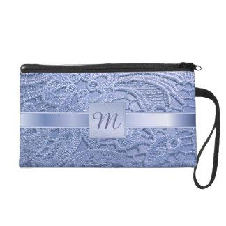 Pretty monogrammed blue vintage lace wristlet purse