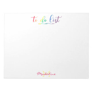 Pretty Monogrammed To Do List Modern Rainbow Notepad