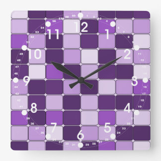 Pretty Mosaic Tile Pattern Purple Lilac Lavender Square Wall Clock