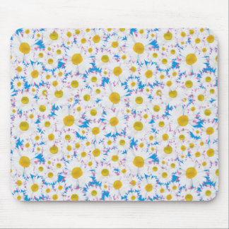 Pretty Mousepad Ditzy White Daisies on Blue
