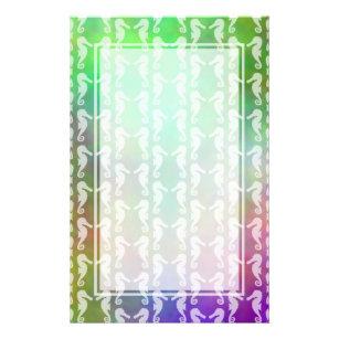 Pretty Multicolor Seahorse Pattern Design Stationery