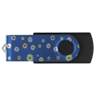 Pretty multicolored daisies on blue USB flash drive