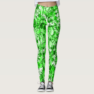 Pretty Neon Green Skulls Leggings