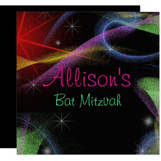 Pretty Neon Lights, Bat Mitzvah Invitation
