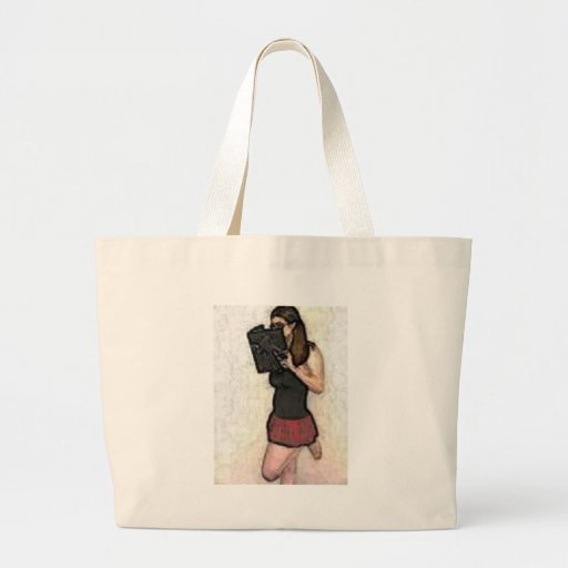 pretty nerdy school girl tote bag