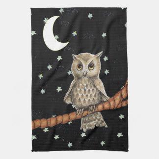 Pretty Night Owl Necklace Moon Stars on Black Tea Towel