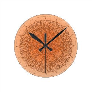 Pretty Orange Oriental Design Clock