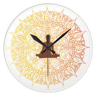 Pretty Orange/White Oriental yoga Design Clock