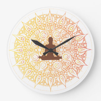 Pretty Orange/White Oriental yoga Design Large Clock