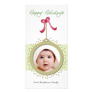 Pretty Ornament with red bow holiday photocard Customised Photo Card
