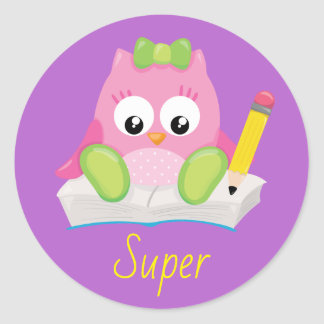 Pretty Owl Super Teacher Reward Classic Round Sticker