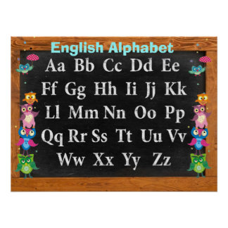 Pretty owls Alphabet Customizable Poster