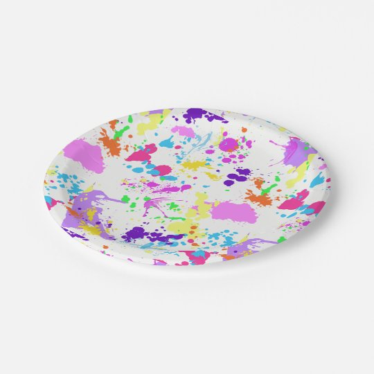 Pretty Paint Splatter, Paintball, Fun, Paper Plate