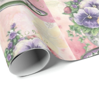 Pretty Painted Pansies Wrapping Paper