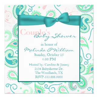 Pretty Paisley Couple s Baby Shower Invitation