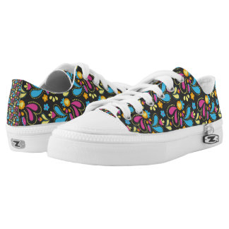Pretty Paisley Floral Pattern Print Low Tops