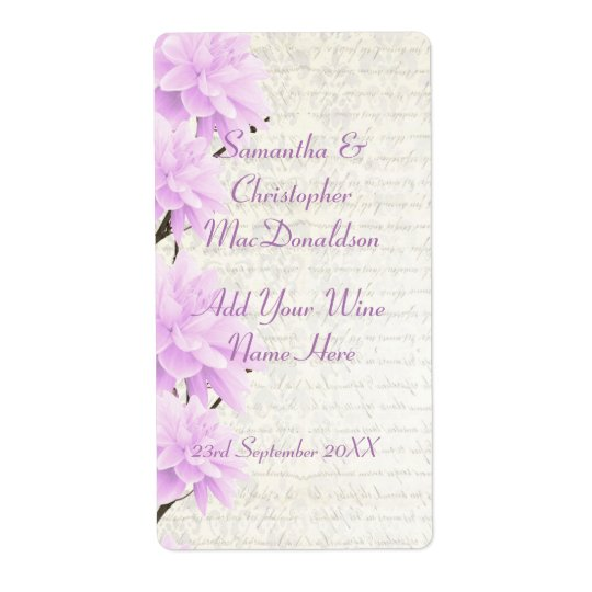 Pretty pale lilac  floral wedding wine bottle shipping label