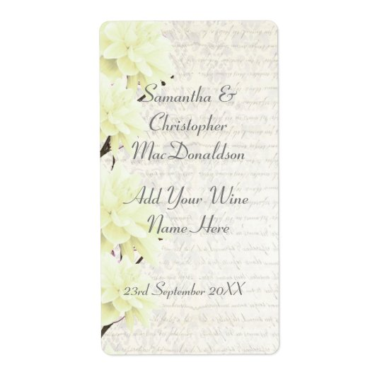 Pretty pale yellow floral wedding wine bottle shipping label