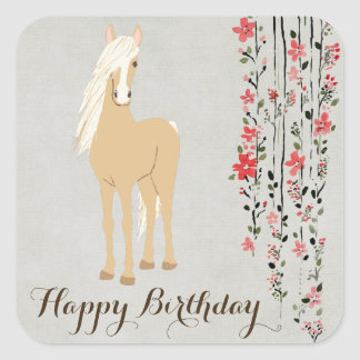 Pretty Palomino Pony Flowers Horse Happy Birthday Square Sticker