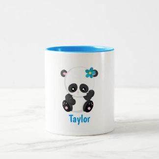 Pretty Panda White and Blue Customize Two-Tone Coffee Mug