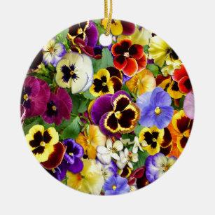 Pretty Pansies Ceramic Ornament