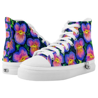 Pretty Pansy Floral Watercolour Zipz Hightop Shoes