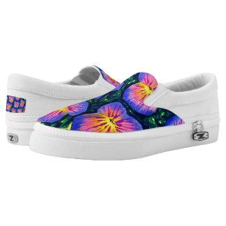 Pretty Pansy Floral Watercolour Zipz Slip-on Shoes
