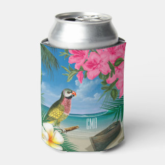 Pretty Parakeet on a Tropical Ocean Design Can Cooler