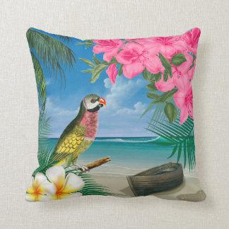 Pretty Parakeet on a Tropical Ocean Design Cushion