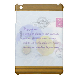 Pretty Pastel Blue Floral Irish Blessing iPad Mini Cover