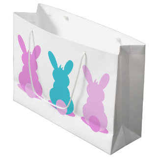 Pretty pastel bunny easter gift bag with name